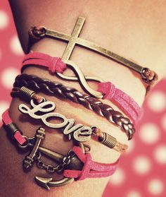 Anchor Love Infinity Cross Bracelet, Pink Bracelet, Multi Wrap Bracelet, Cross Bracelet, Leather Wrap Bracelet on Etsy, $8.99