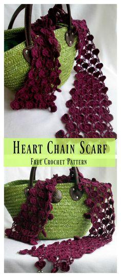 Ideas For Crochet Heart Chain Stitches Crochet Chain Scarf, Crochet Beanie, Crochet Scarves, Crochet Shawl, Crochet Clothes, Free Crochet, Crochet Baby, Knit Crochet, Crochet Edgings