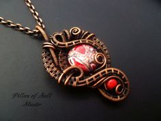 Wire Wrapped pendant copper jewelry / wire wrapped jewelry handmade / woven wire…