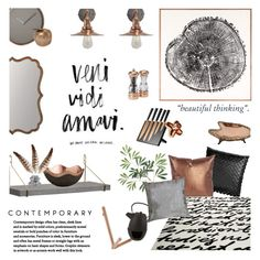"""""""Copper Living"""" by happilyjynxed ❤ liked on Polyvore featuring interior, interiors, interior design, home, home decor, interior decorating, Natural Curiosities, H&M, Howard Elliott and CB2"""