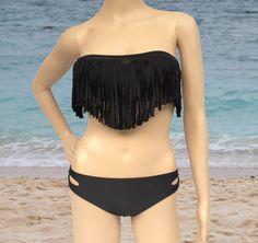 black ( 9 colors ) 2PC Tassel Padded Bandeau Fringe Bikini Beach Women Swimsuit Swimwear set on Etsy, $19.00