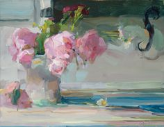 Christine Lafuente, Peonies and Green Shutter