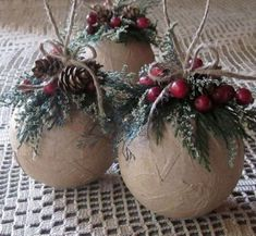 Rustic Ornaments, Set of Three