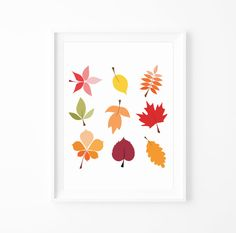 Fall Leaves Print  Fall by MILKANDPAPER on Etsy, $14.00