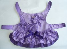 Purple Hawaiian print  DOG Harness Dress 3 layered Ruffled Puppy dress Cat dress or small pet clothes