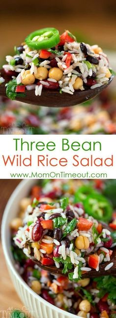 Turn to this Three Bean Wild Rice Salad for an easy and delicious light vegetarian dinner recipe that your family will DEVOUR. It also makes the perfect side dish for barbecues, parties, pot lucks or your next party!