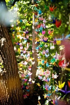 They say one thousand paper cranes will bring you one thousand years of happiness, joy and prosperity.
