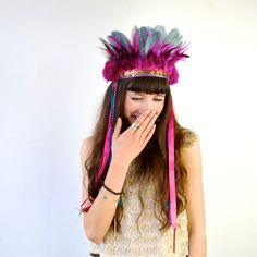Pom - Vibrant Festival Headdress - Feather Crown