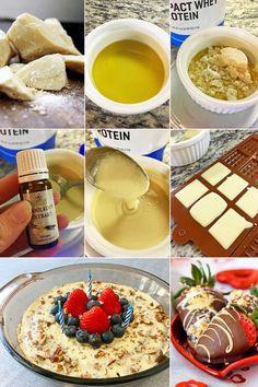 Postup - fitness domácí bílá čokoláda bez cukru - zdravý recept Bajola Nutella Fudge, Chocolate Mousse Cake, Fudge Brownies, Eat Smart, Cake Recipes, Roast, Low Carb, Cooking, Breakfast