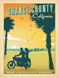 Orange County, California - Anderson Design Group has created an award-winning series of classic travel posters that celebrates the history and charm of America's greatest cities and national parks. This print features a cheerful sunset at a favorite Orange County beach surf spot. Printed on heavy gallery-grade matte finished paper, this print will look great on any home or office wall.