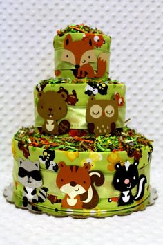 Baby Diaper Cakes Woodland Animals Forest Creatures Baby Shower Gift or Centerpiece. $56.99, via Etsy.