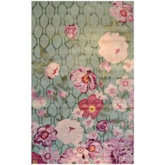 English Rose Green Wool Rug (115 AUD) ❤ liked on Polyvore featuring home, rugs, faux rug, green rug, flower area rug, wool rugs and flower rug