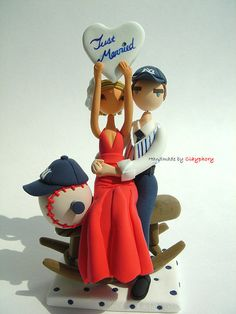 On the Winning Team Favorite Sports Team Wedding Cake Topper  http://www.etsy.com/shop/Clayphory