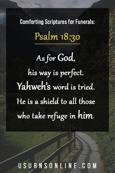 God's way is perfect - he is a shield to ALL who take refuge in him. A beautiful and comforting Bible verse from Psalm 18:30, especially for those who are grieving the loss of a loved one. Bible Verses For Funerals, Best Bible Verses, Memorial Urns, Funeral Memorial, Funeral Eulogy, Funeral Etiquette, Comforting Bible Verses, Funeral Urns, Memories Quotes