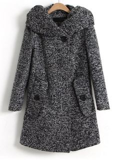 Dark Grey Long Sleeve Hooded Oblique Pocket Tweed Coat - Sheinside.com