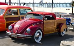 Volkswagen Surf Convertible - red A Woody Bug???? What will they think of next.