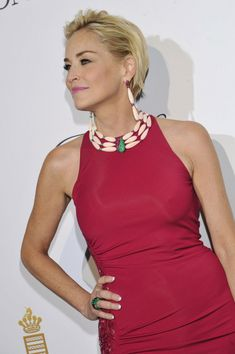 It was high fashion and high jewels on day seven of the Cannes Film Festival, with the night belonging to De GRISOGONO and its star-studded Eden Roc party. Formal Hairstyles For Short Hair, Short Hair Cuts, Evening Hairstyles, Sharon Stone, Short Styles, Long Hair Styles, Cavalli Dress, Fresh Hair, Vogue