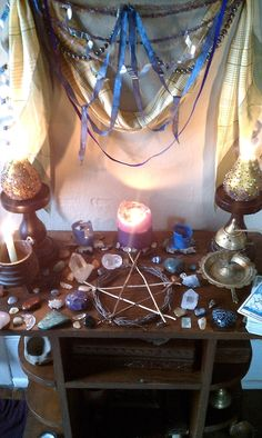 How altars are used and arranged is a dilemma that many people who are new to Paganism come across. This post is intended to clear this up and hopefully make life a bit easier for those of you who still aren't quite sure what to do with your altar. Wicca Altar, Wiccan Spells, Pagan Witch, Witchcraft, Healing Spells, Pagan Alter, Crystal Altar, Witch Aesthetic, Book Of Shadows