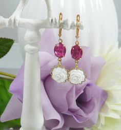Earrings with Vintage Glass Gems and White Roses by IndulgedGirl, $14.00