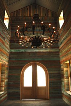 our foyer at our JuNK GYpSy WORLD headquarters in the building process! all out of old farmhouse wood!