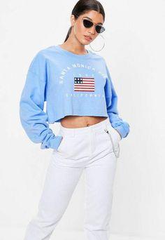 c5f61e5c7137e Missguided Blue Santa Monica Pier Print Cropped Sweatshirt Missguided