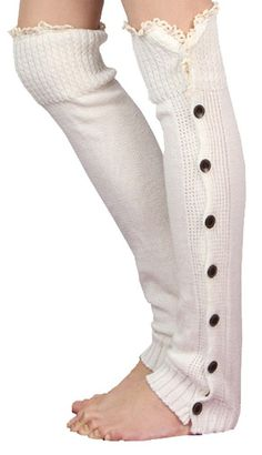 Wowlife Women's Knee High Knit Flat Button Down Crochet Lace Trim Leg Warmers (White). 100% Brand new and high quality!. With Crochet lace yarn these solid body knit stockings will be your newest fall-winter wear item. We love them with rain boots or ankle-length boots & our leg warmers are any boot's best friend!. One size fits most | approximately 20. Pair these leg warmers with skinny jeans, leggings, knee high boots, rubber boots or even heels and flats.