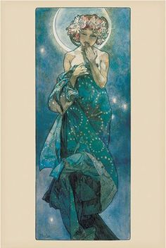 Art poster - Moon - By Alphonse Marie Mucha