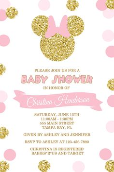 Pink and Gold Minnie Mouse Baby Shower Invitation by Honeyprint