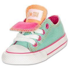 Baby Girls Shoes Converse Chuck Taylor Double Tongue Ox Toddler Sizes Aqua Pink | eBay