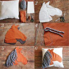 Horse pillow DIY,QUE LINDA ESTA ,ALMOFADA COM APLICAÇÃO DE UM CAVALO,AMEI