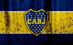 Download wallpapers 4k, FC Boca Juniors, grunge, Superliga, soccer, Argentina, logo, Boca Juniors, football club, CABJ, stone texture, Boca Juniors FC