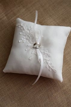 Wedding Ring Pillow, Ring Bearer Pillow for rustic wedding, made from ivory duchess satin and applique. This 7 x 7 ring pillow is made from ivory