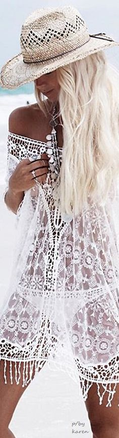 Boho Sheer White Lace Swim Cover Up  ≫∙∙☮ Bohème Babe ☮∙∙≪• ❤️ Babz™ ✿ιиѕριяαтισи❀ #abbigliamento #bohojewelry #boho