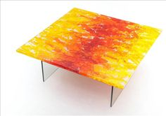 ORGANICS SERIES - BOILED GLASS phuzed glass coffee table series   by orfeo quagliata Materials:  boiled glass + metal Dimensions:  made to order Options:  *This piece is custom made to order - please inquire as to custom options available.