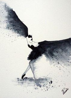 """Aquarelle originale moderne """"Black Bird : L'Envol"""", peinture originale, aquarelle danseuse - ballerine"""