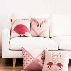 Fashion nordic Bird Pink Love FlamingosThrow Pillowcase Decorative Cushion cover Linen cotton Almofadas Cojines