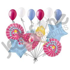11 pc Fairy Godmother Magical Birthday Balloon Bouquet Happy Princess Fairytale