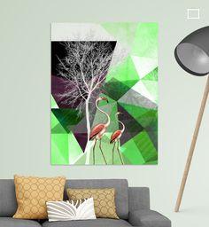 Neu in meiner Galerie bei OhMyPrints: FLAMINGOS P21 v1 © by #PiaSchneider #kunst #art #flamingos #modernekunst #geometrie #triangles #ohmyprints #grün #green