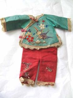 Fabulous 2 Pc. Antique Chinese Doll Suit W/ Embroidery