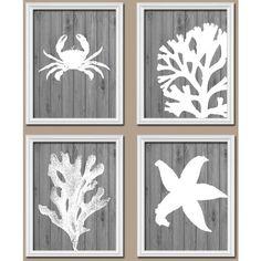 Nautical Beach Bathroom Wall Art Canvas or Prints Ocean Bathroom... (46 CAD) ❤ liked on Polyvore featuring home, home decor, wall art, bathroom, bathroom décor, home & living, silver, inspirational wall art, sea wall art and crab wall art