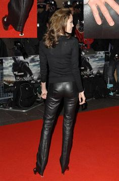 Black leather pants bottom on red carpet