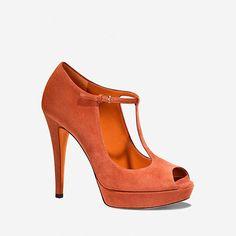 simple t-strap peep-toe in a brilliant color
