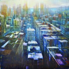 """David Dunlop, """"West Side Stories,"""" Oil on anodized aluminum, 36 X West Side Story, Painting Techniques, New York Skyline, The Past, David, Social Media, Oil, Artists, Landscape"""