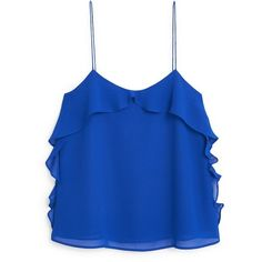 Ruffled Strap Top (105 HRK) ❤ liked on Polyvore featuring tops, ruffle top, mango tops, blue top, frilly tops and blue ruffle top