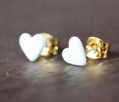 Tiny White Heart Studs