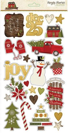 Simple Stories Cozy Christmas Chipboard Stickers