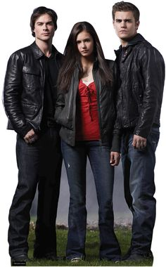 Damon (Ian Somerhalder), Elena (Nina Dobrev) and Stefan (Paul Wesley) - Vampire Diaries Vampire Diaries Stefan, Vampire Diaries Cast, Vampire Diaries The Originals, Paul Wesley, Damon Salvatore, Ian Somerhalder, True Blood, The Cw, Vampire Diaries Costume