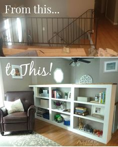 Built-in bookcase replaces metal stair railing--really want to do this on the upstairs landing Bookshelves Built In, Built In Bookcase, Built Ins, Bookcases, Book Shelves, Shelf, Metal Stair Railing, Railings, Indoor Railing