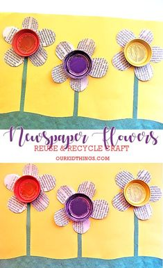 Reuse and Recycle Earth Day-Inspired Newspaper Flowers Craft crafts kids preschool classroom Newspaper Flowers Craft Recycled Crafts Kids, Recycled Art Projects, Crafts For Kids, Arts And Crafts, Recycled Furniture, Handmade Furniture, Recycling Activities For Kids, Newspaper Flowers, Newspaper Crafts