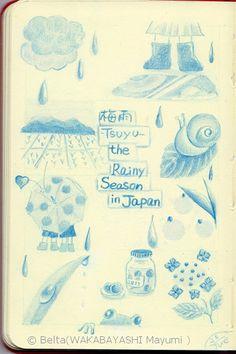 2013_06_26_tsuyu_01_s  梅雨(tsuyu)   It's a rainy season in Japan now.    for this drawing I used:  Faber castell polychromos  Moleskine sketchbook    © Belta(WAKABAYASHI Mayumi )